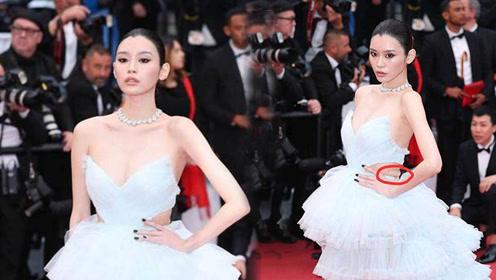 奚梦瑶白色蓬蓬露背纱裙亮相 腰间引发网友热议:这是超模标准吗