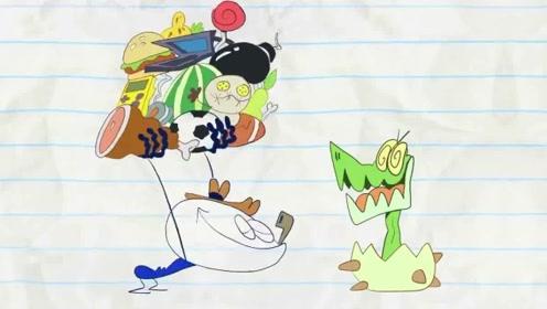 创意铅笔画:铅笔人以为小恐龙只喝牛奶,没想到小恐龙是个大胃王