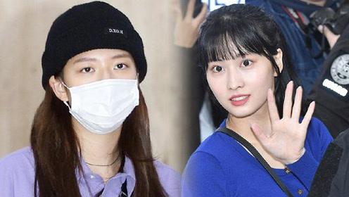Twice组合淡妆现身机场 引众粉丝围堵人气超高