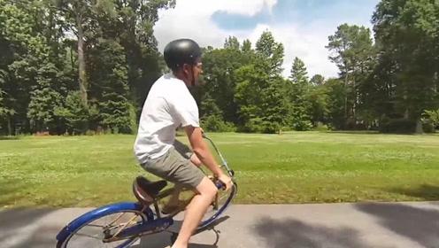 """老外自制""""反向""""自行车,骑出15米就给5万美金,却没人成功"""