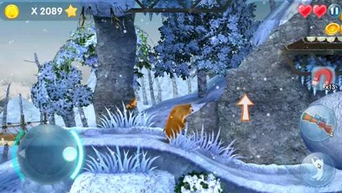 熊出没熊二在雪地里踩到很多木桶,木桶击碎铁墙释放金币