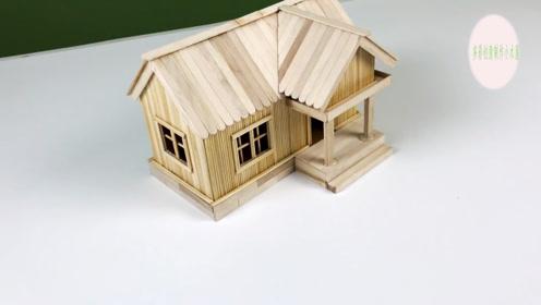 纯手工制作创意视频,用竹签制作小木屋真好看