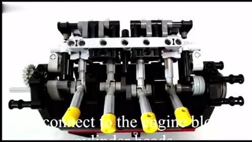 玩乐高都是在炫富吗两台电动马达,带动V8发动机运转