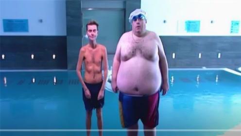 胖子和瘦子同时掉进水里,究竟谁先沉下去?两位老外亲自试验!