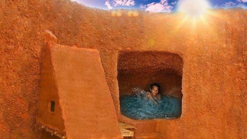国外小伙在悬崖侧面搭建小木屋,还挖了泳池,你想在里面避暑吗?