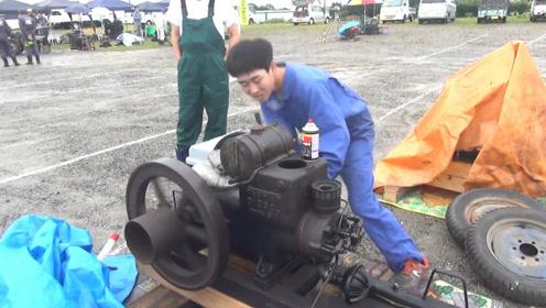 小孩拿出自家1932年发动机,启动那一刻,动力强悍了!