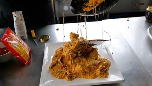 金黄拉丝龙虾肉,龙虾还能这么吃?