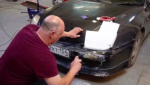 老外效仿国内牛人,用方便面修补汽车,看到结果后仍不敢相信!