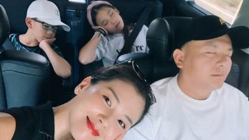 刘涛一家四口暑假幸福出游 老公儿女全体熟睡超温馨