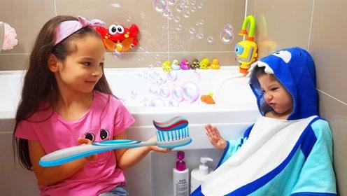 弟弟不爱刷牙,看聪明的姐姐如何教育他,让他乖乖去刷牙!