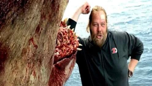 老外和战利品巨齿鲨合照,3秒后,此照片竟成他的遗照!