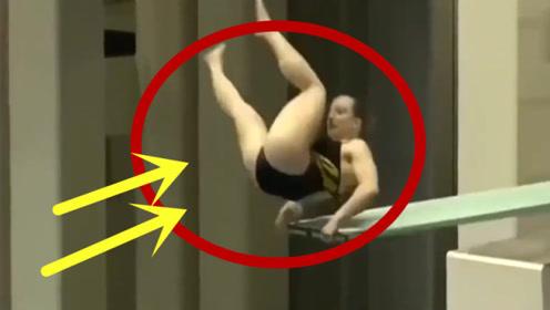 """美女运动员跳水,不料脚下""""一滑"""",直接被判0分!"""