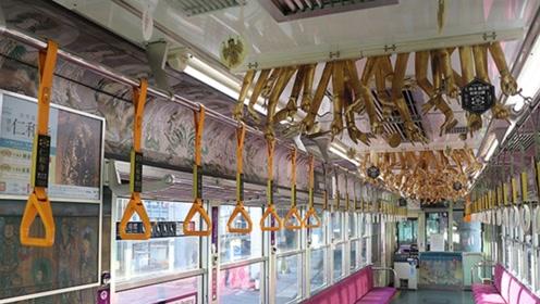 """眼见为实!京都一电车挂满""""人手""""!简直就是伊藤润二出动了!"""