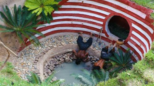 野外求生篇:牛人户外徒手建房,还配有一个私人池塘