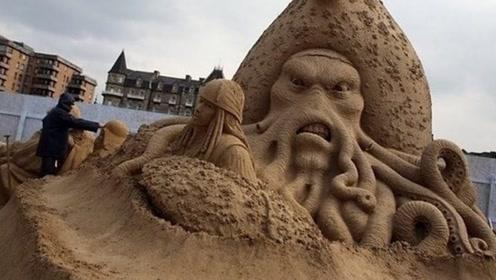 艺术大师的沙雕作品,看完制作过程,才知道什么叫震撼!