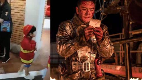 小海绵扮消防员向黄晓明致敬,BABY这么做太暖心!