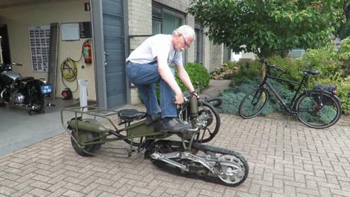老头珍藏1939年摩托车,看看是如何启动的,太别致了!