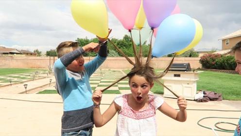 外国小女孩作妖,把头发绑在气球上,被弟弟用剪刀剪掉
