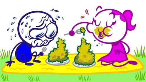 女朋友做饭难吃,铅笔人将食物倒在地上,不料想惹怒一旁的乌鸦!