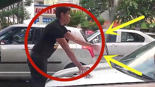 男子对女司机挑衅,女司机:还有这要求?那我满足你吧!
