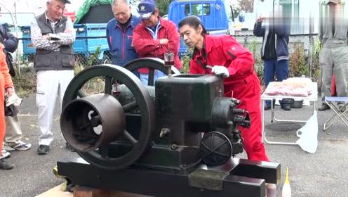 日本大叔收藏上世纪60年代的巨型发动机,启动后动力依旧强悍!