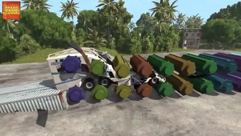 汽车摧毁实验:大滚筒压平汽车