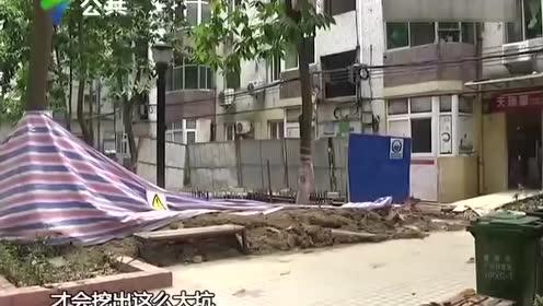 """市民投诉:加装电梯""""野蛮""""施工 绿化带被淤泥破坏"""
