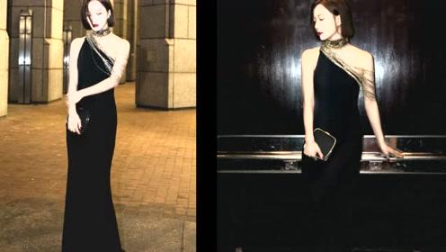 王珞丹告诉你,穿黑裙子不要这样拍照,不然容易跟背景融为一体