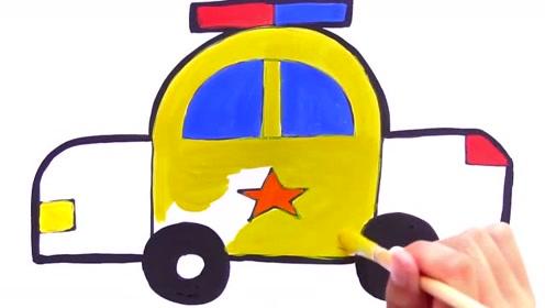 儿童绘画游戏:学习绘画涂色警车