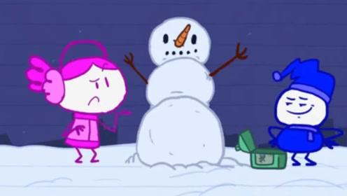 男孩为女友堆雪人,不料雪人竟然活了过来,带走自己的女朋友