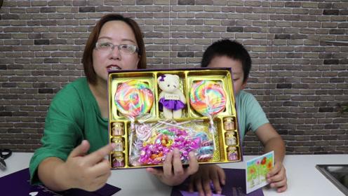 """收到一个超级漂亮的""""糖果礼盒"""",里面的东西好丰富,颜值超高呀"""