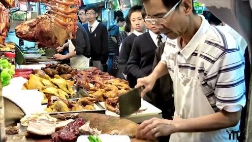 香港街头美食小吃, 品种多又实惠,叉烧饭摊位排起长龙!