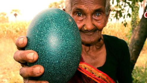 """老奶奶在山上捡到""""绿色巨蛋"""",用斧头敲开后,网友:惊喜发生了"""