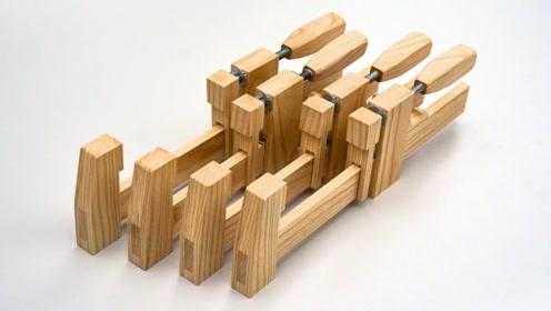 这才是真正的匠人,用木头制作的夹子,整个过程让人赏心悦目