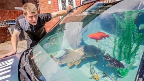 老外把汽车改装成鱼缸,鱼儿在车里游来游去,有钱人真任性!