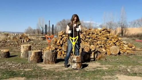 国外46岁大叔发明劈柴神器,不用油和电,女孩子都能轻松使用!