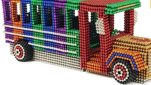 用巴克球DIY一辆豪华校车,造型独特色彩大胆,网友:这手艺学不来!