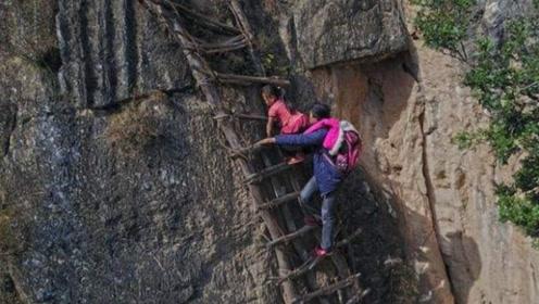 我国真正的悬崖村,上下山靠爬藤梯,海拔高达1500m