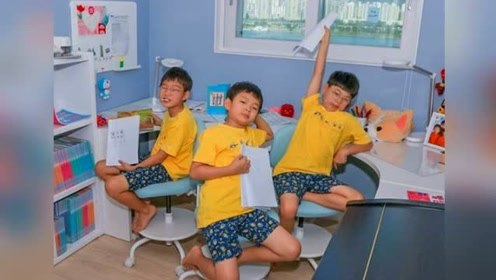 宋家三胞胎近况公开 萌娃写剧本笑果十足