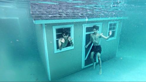 男子将房子搬进泳池,还尝试进去住,网友:怕你明天醒不来!