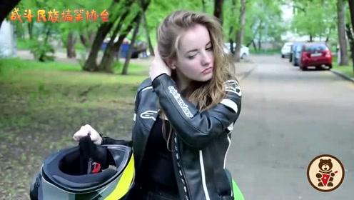 俄罗斯当红女主播第一次骑着摩托出镜 网友:仿佛看到了爱情