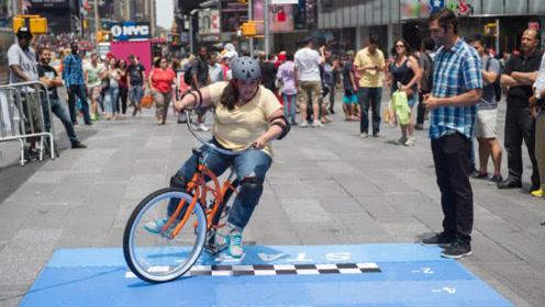 最难控制的自行车,骑10米就奖励200美元,现场无人成功