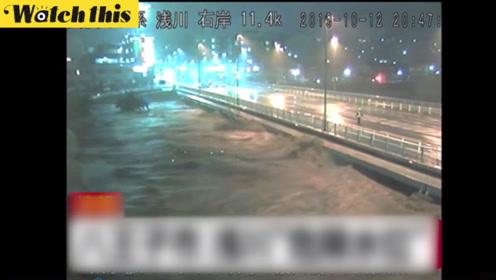 台风海贝思登陆日本关东地区 桥梁几乎被淹没东京几十万户停电