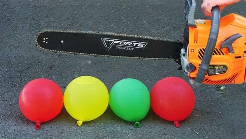 小伙用电锯切割水气球,慢镜头下破裂的瞬间太美了!