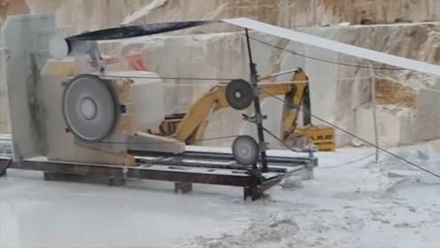 切割几十吨大理石只需一根钢丝绳?你没看错,这个效果简直太棒了