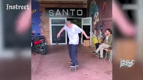 这位滑板大神的动作到底有多稳?起跳落地都在一块滑板上
