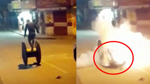 实拍:巴西一男子不慎跌倒 口袋中的手榴弹突然爆炸 非法携带爆炸物被调查