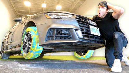 用1000层保鲜膜代替汽车轮胎,油门一踩,惊喜才刚刚开始!