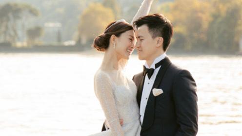 文咏珊晒古堡婚礼照感谢见证 穿拖尾刺绣婚纱现场浪漫幸福