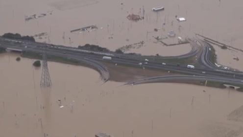 80秒航拍台风过境后的日本:已致55死 停电停水,房屋浸泡洪水中